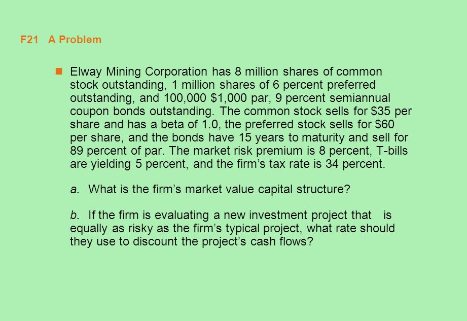 a. What is the firm's market value capital structure
