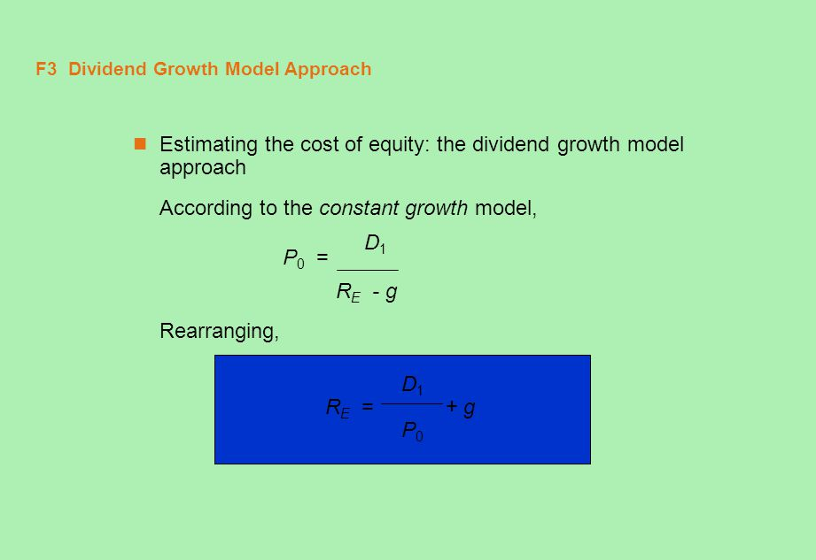 F3 Dividend Growth Model Approach