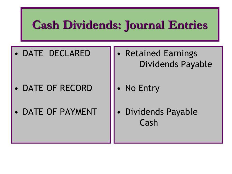 Cash Dividends: Journal Entries