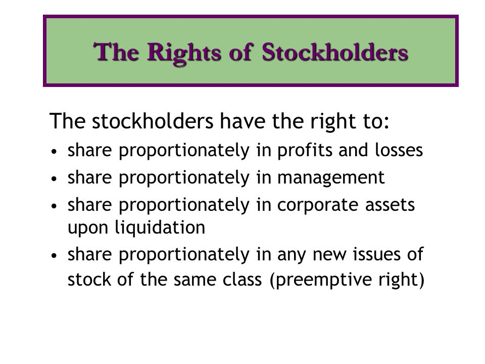 The Rights of Stockholders