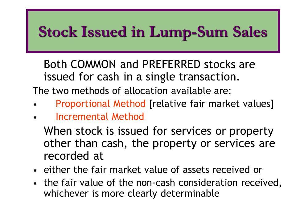 Stock Issued in Lump-Sum Sales