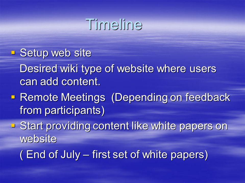 Timeline Setup web site