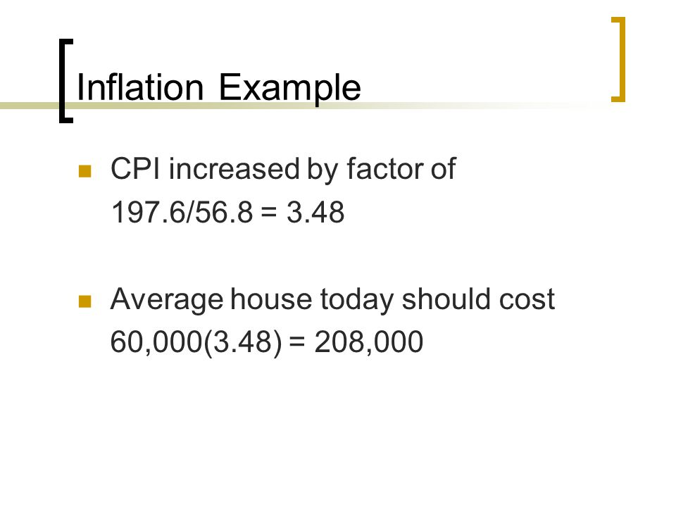 Inflation Example CPI increased by factor of 197.6/56.8 = 3.48