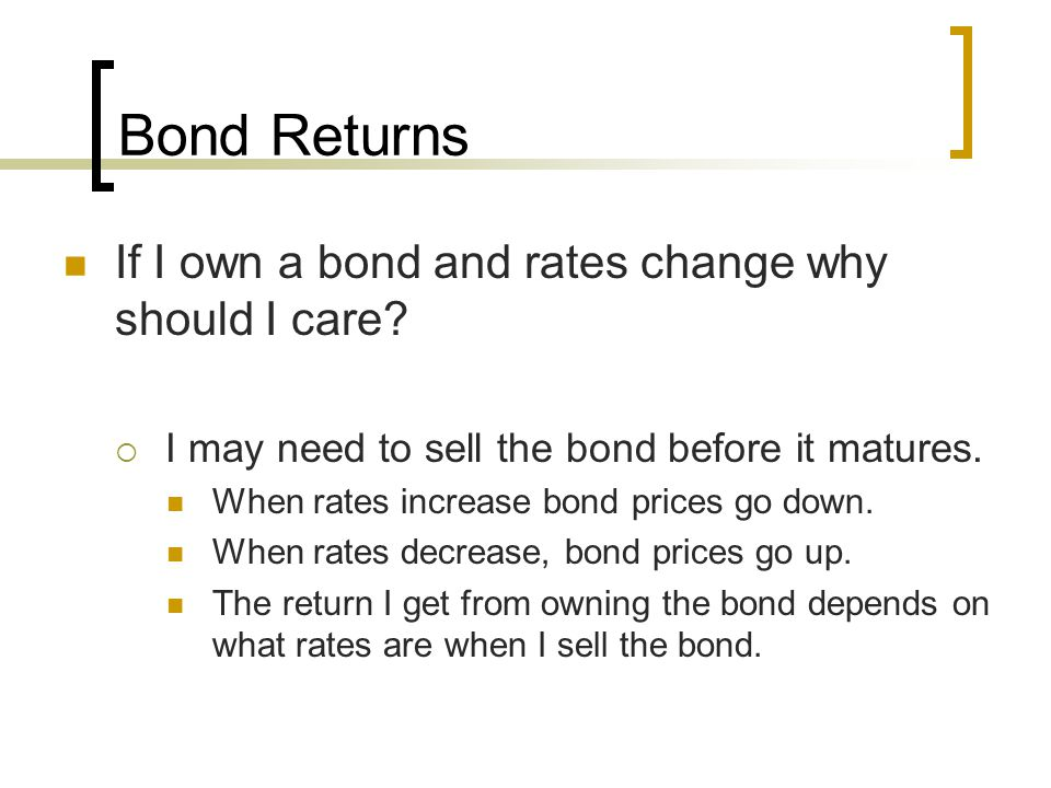 Bond Returns If I own a bond and rates change why should I care