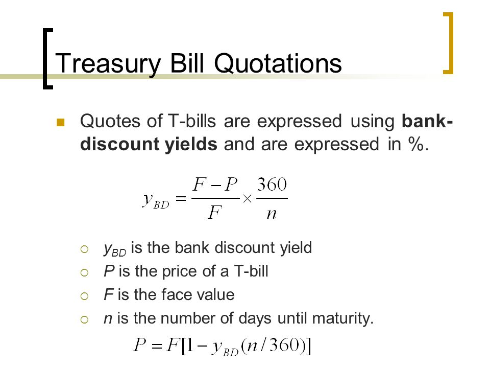 Treasury Bill Quotations