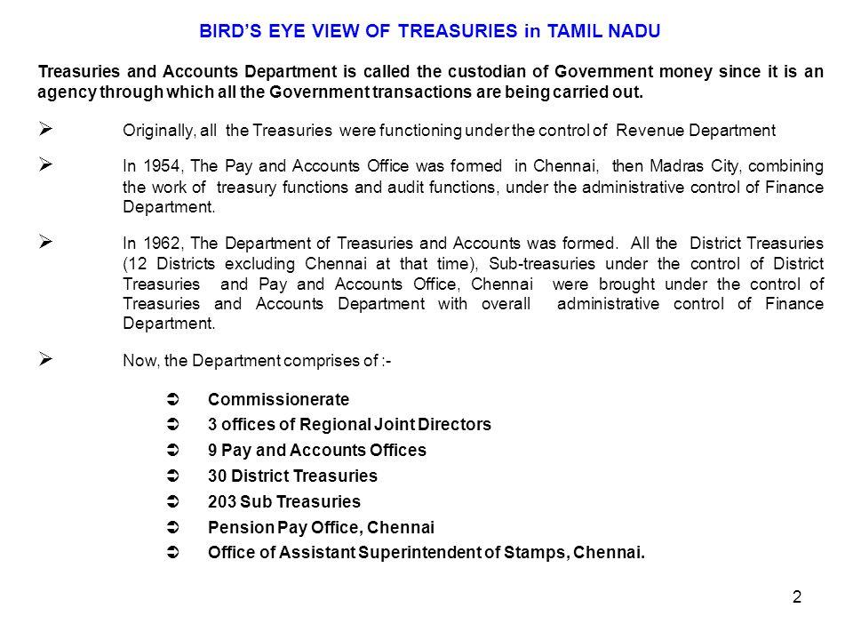 BIRD'S EYE VIEW OF TREASURIES in TAMIL NADU