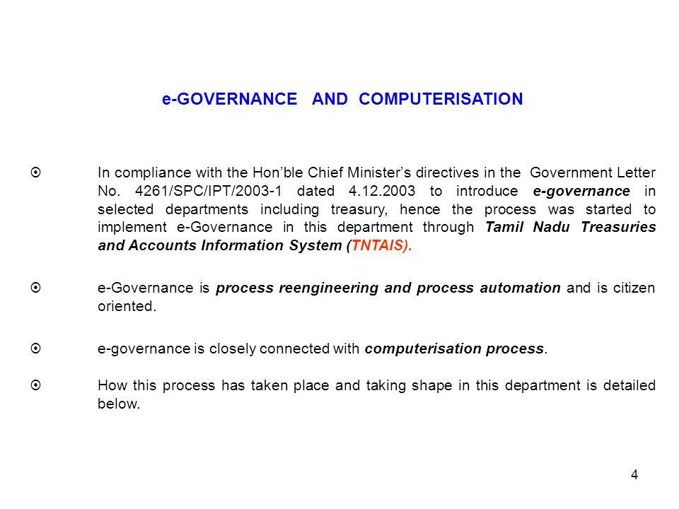 e-GOVERNANCE AND COMPUTERISATION