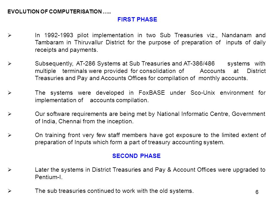 FIRST PHASE SECOND PHASE EVOLUTION OF COMPUTERISATION …..