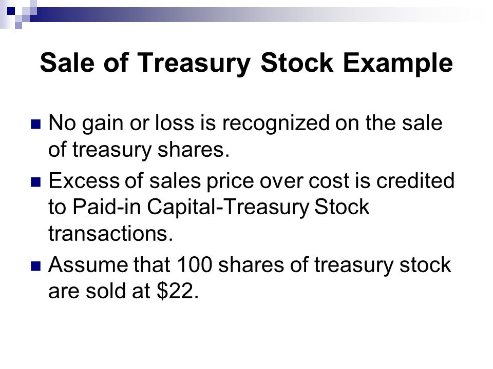 Sale of Treasury Stock Example