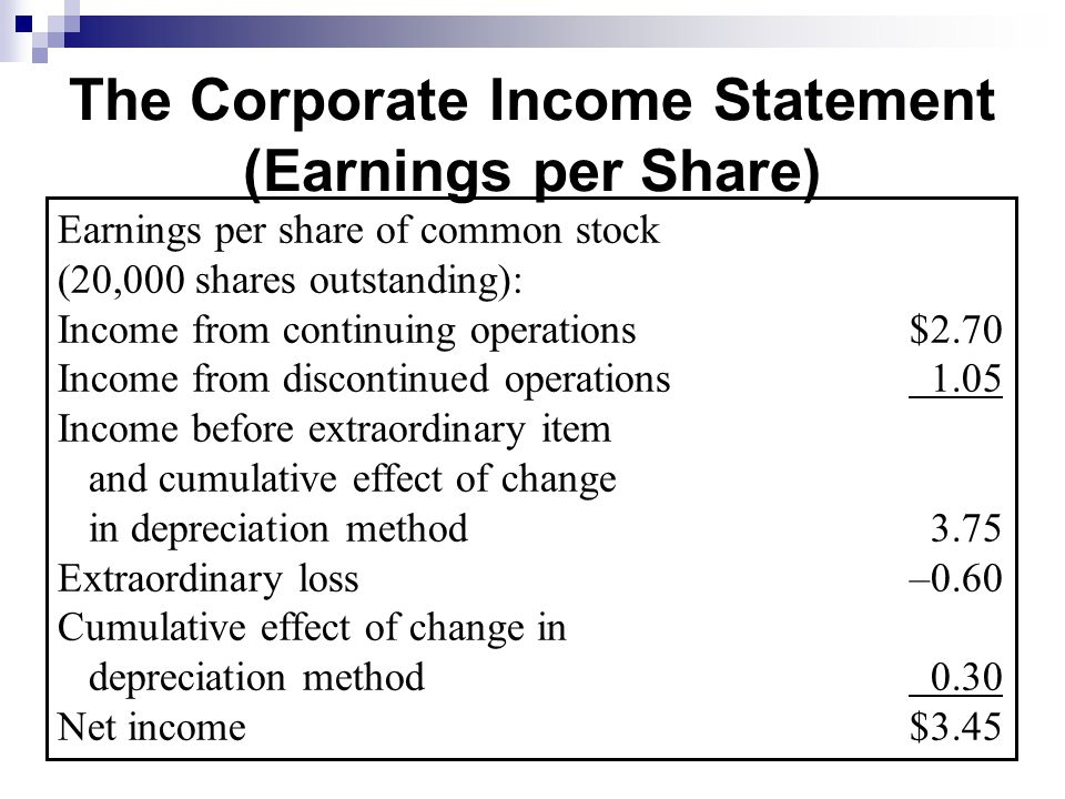 The Corporate Income Statement (Earnings per Share)