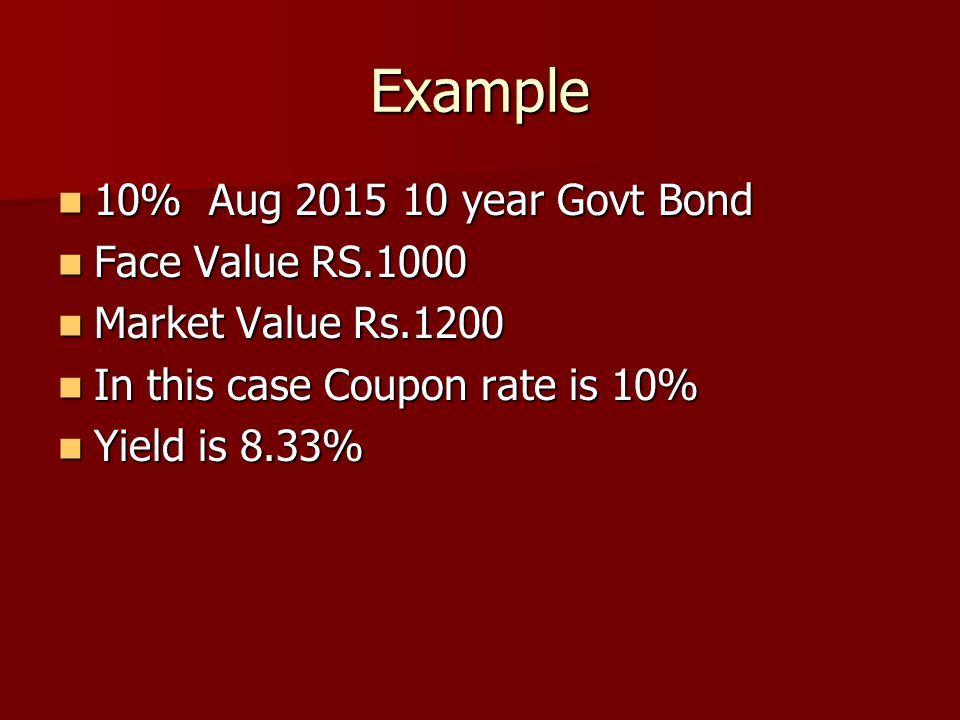 Example 10% Aug 2015 10 year Govt Bond Face Value RS.1000