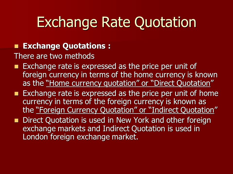 Exchange Rate Quotation