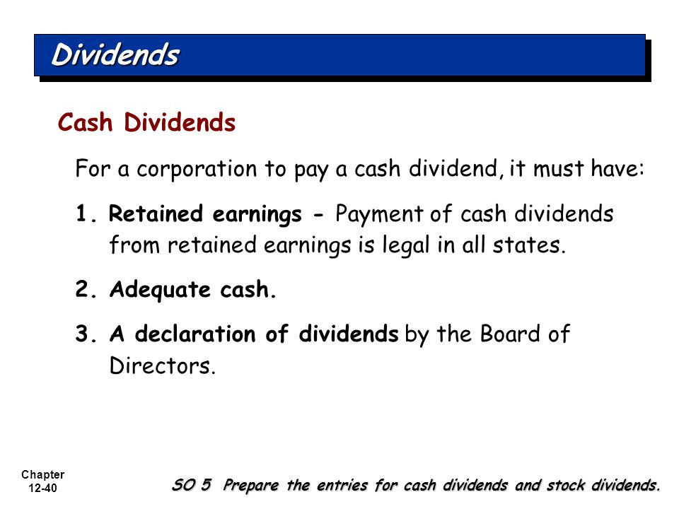 Dividends Cash Dividends