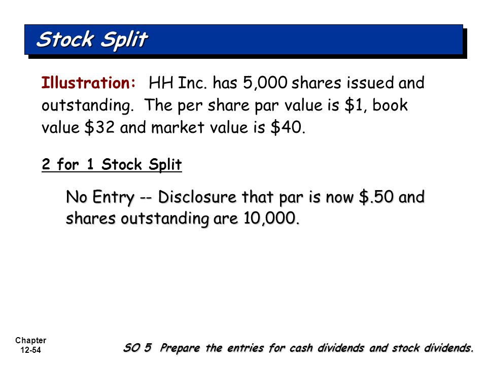 Stock Split Illustration: HH Inc. has 5,000 shares issued and outstanding. The per share par value is $1, book value $32 and market value is $40.