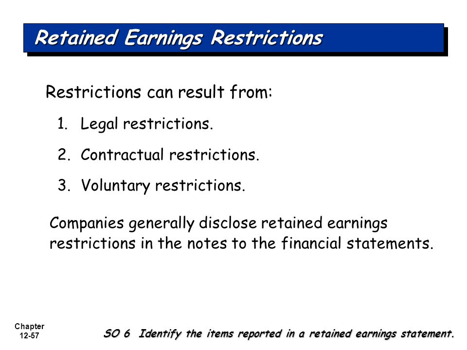 Retained Earnings Restrictions
