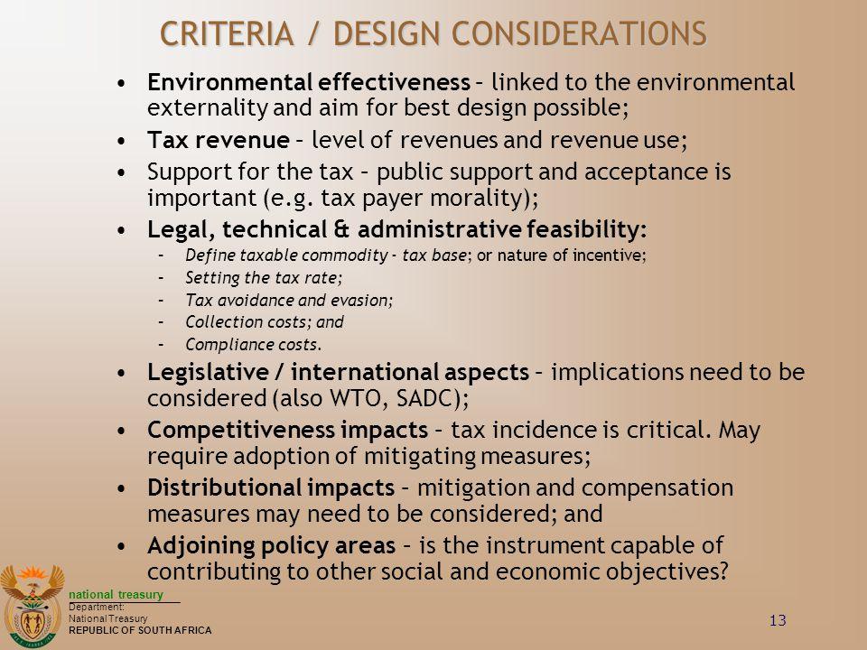 CRITERIA / DESIGN CONSIDERATIONS