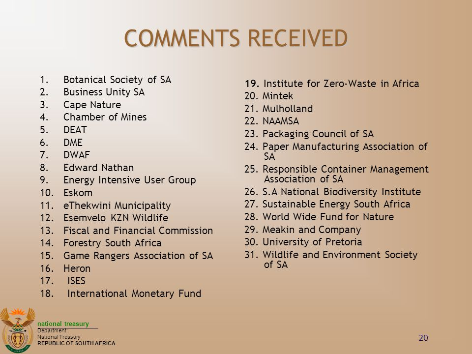 COMMENTS RECEIVED Botanical Society of SA Business Unity SA