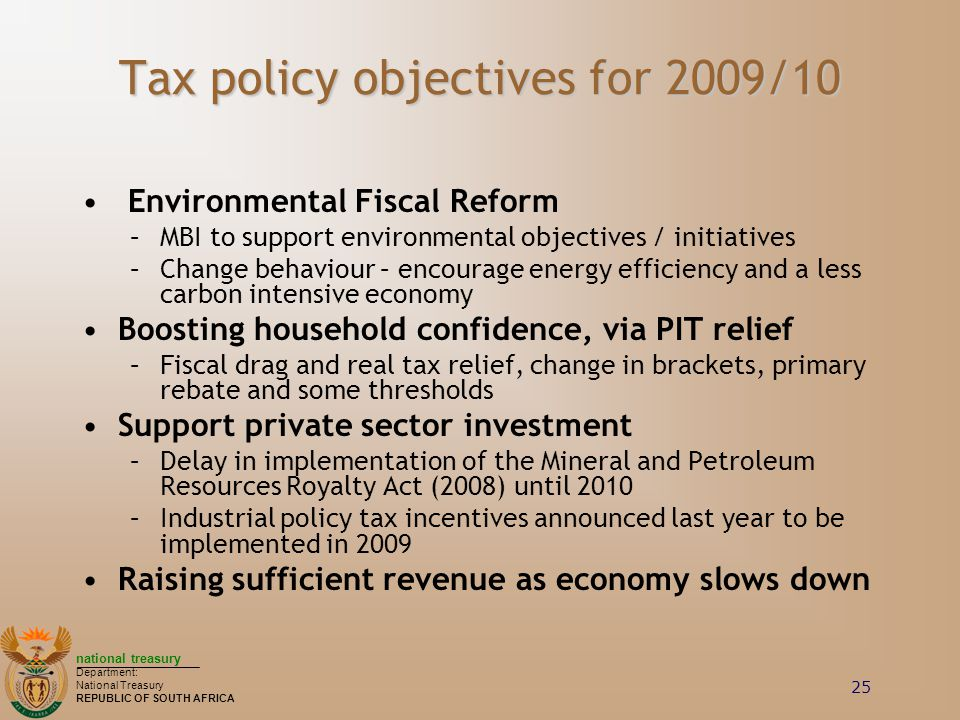 Tax policy objectives for 2009/10