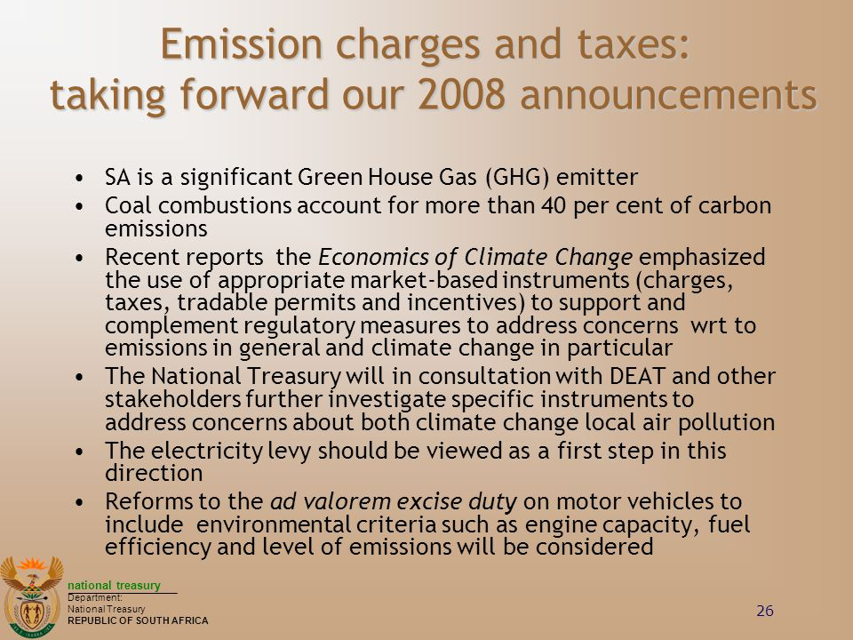 Emission charges and taxes: taking forward our 2008 announcements