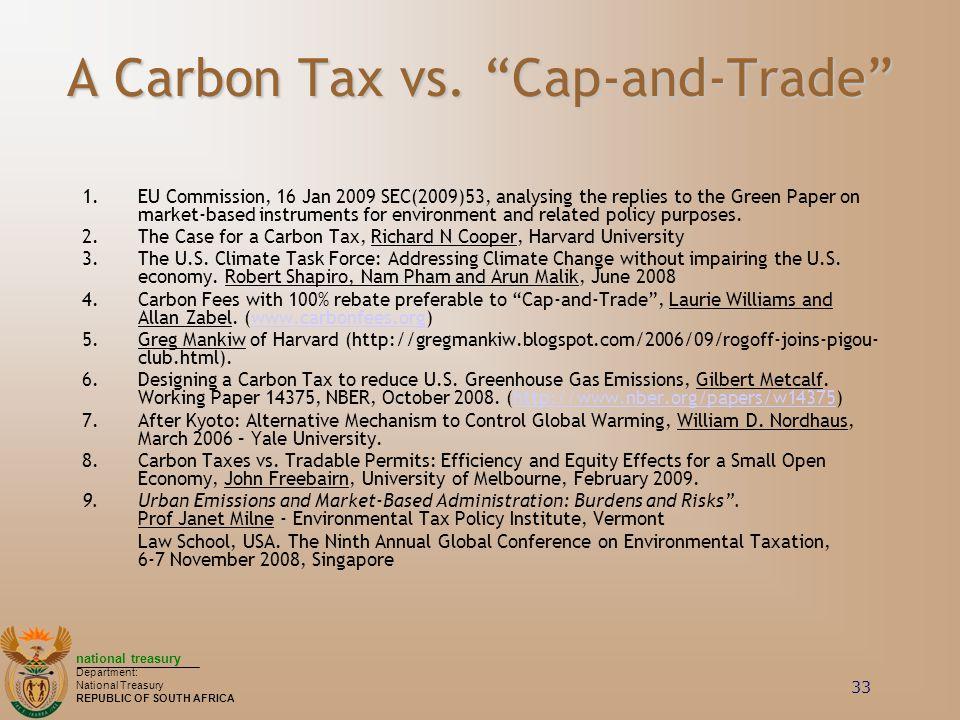 A Carbon Tax vs. Cap-and-Trade