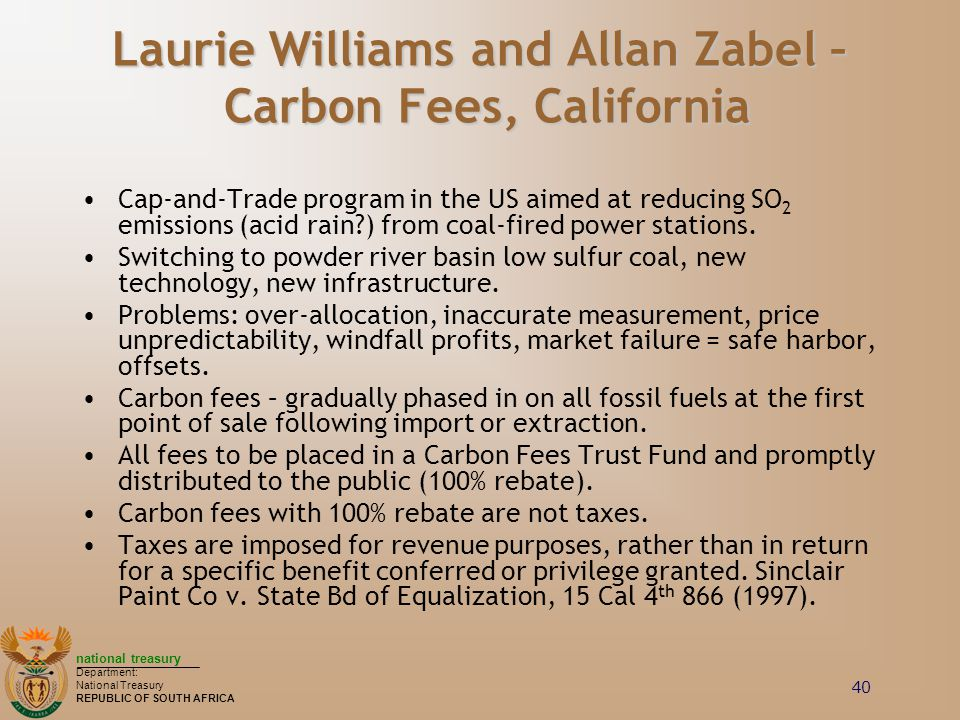 Laurie Williams and Allan Zabel – Carbon Fees, California