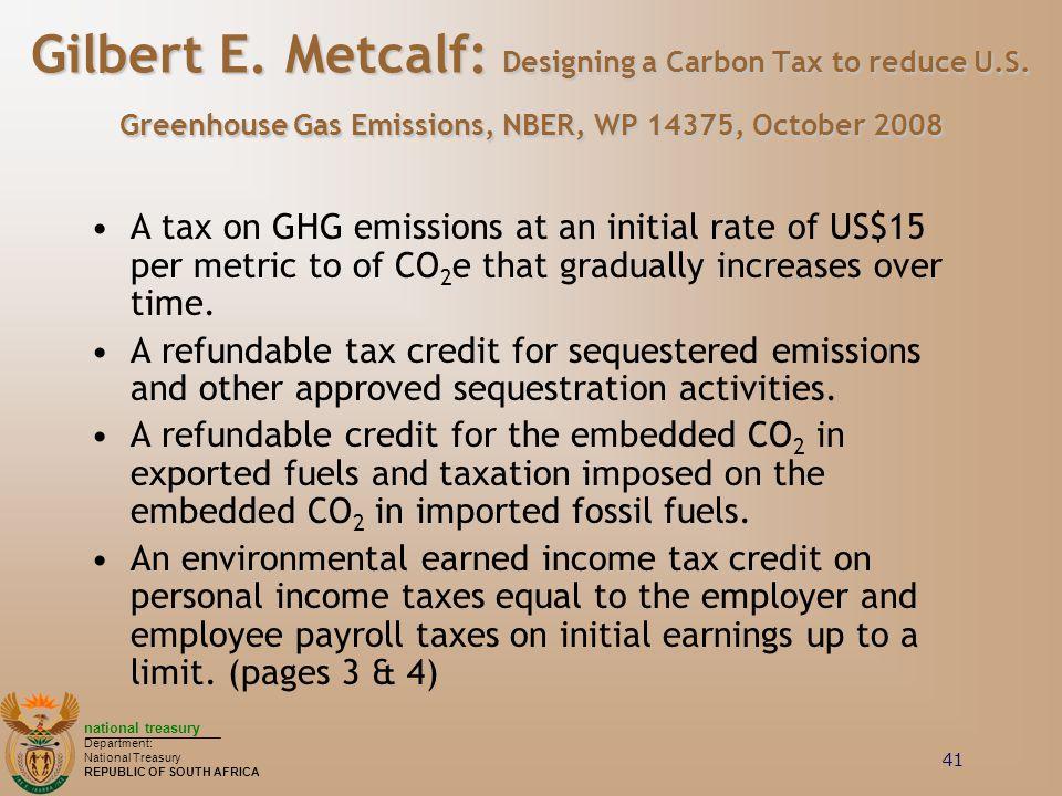 Gilbert E. Metcalf: Designing a Carbon Tax to reduce U. S