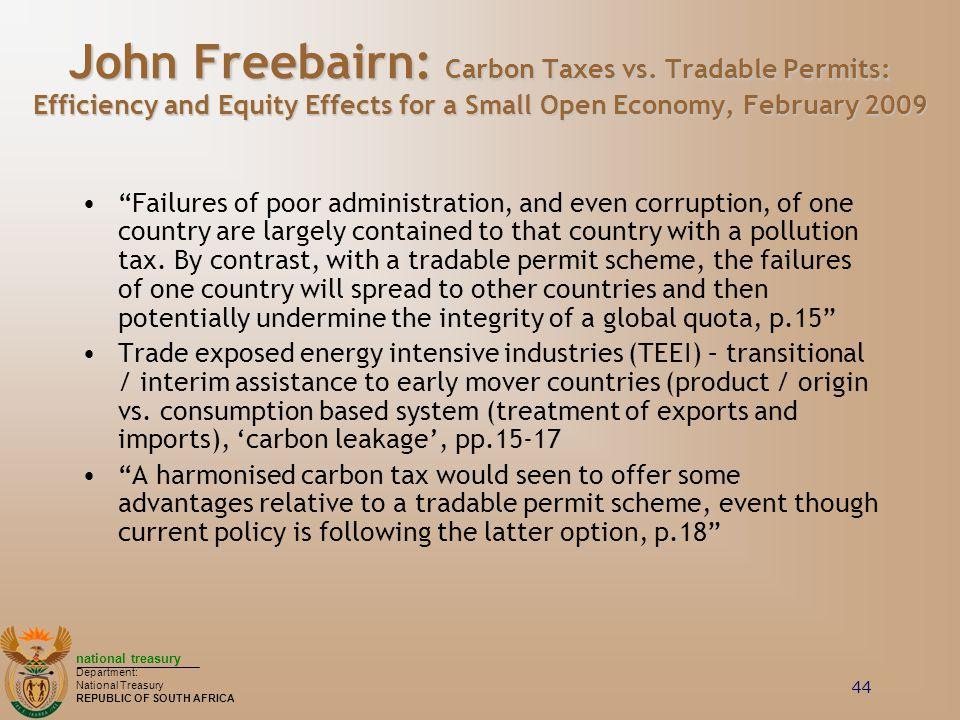 John Freebairn: Carbon Taxes vs