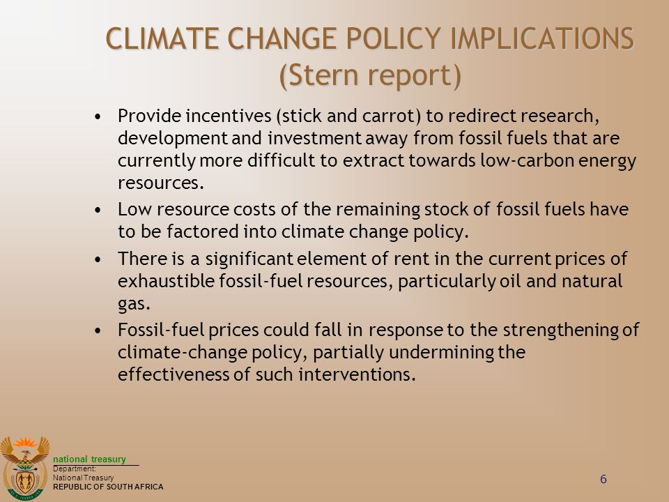 CLIMATE CHANGE POLICY IMPLICATIONS (Stern report)