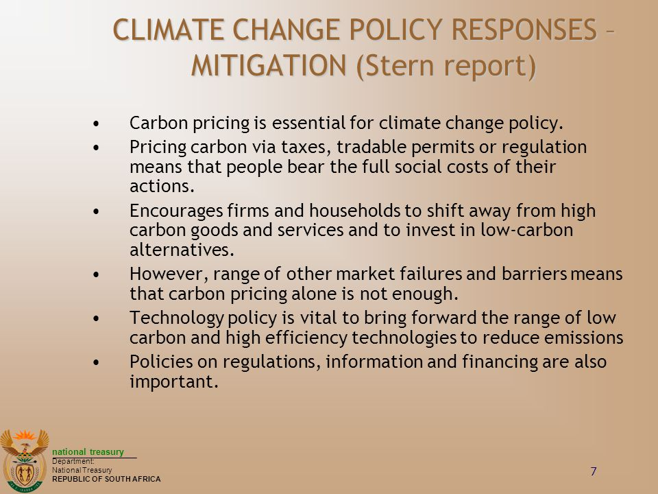 CLIMATE CHANGE POLICY RESPONSES – MITIGATION (Stern report)
