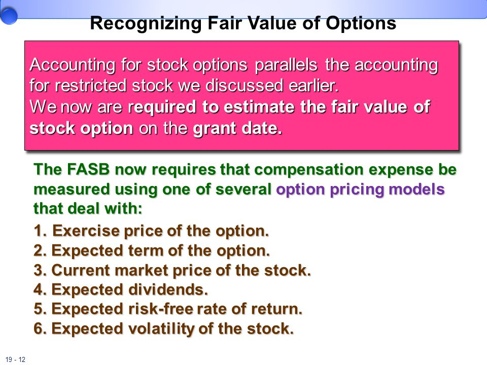 Accounting for stock options parallels accounting for