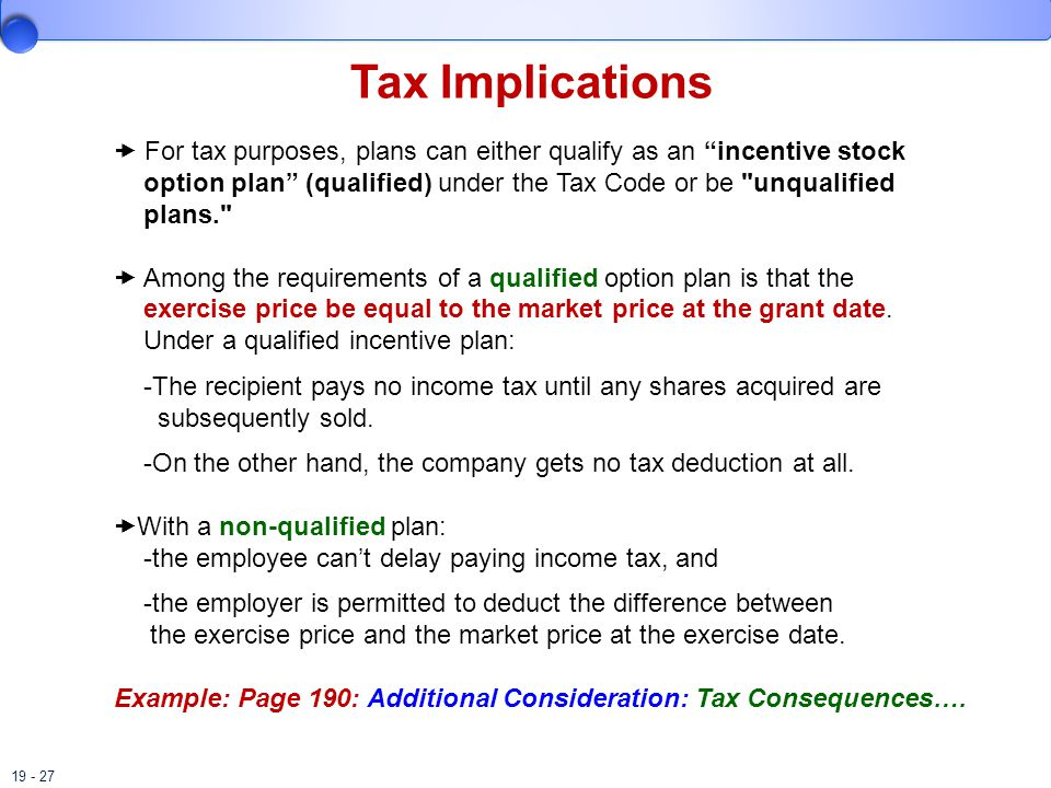 Non qualified stock options tax implications