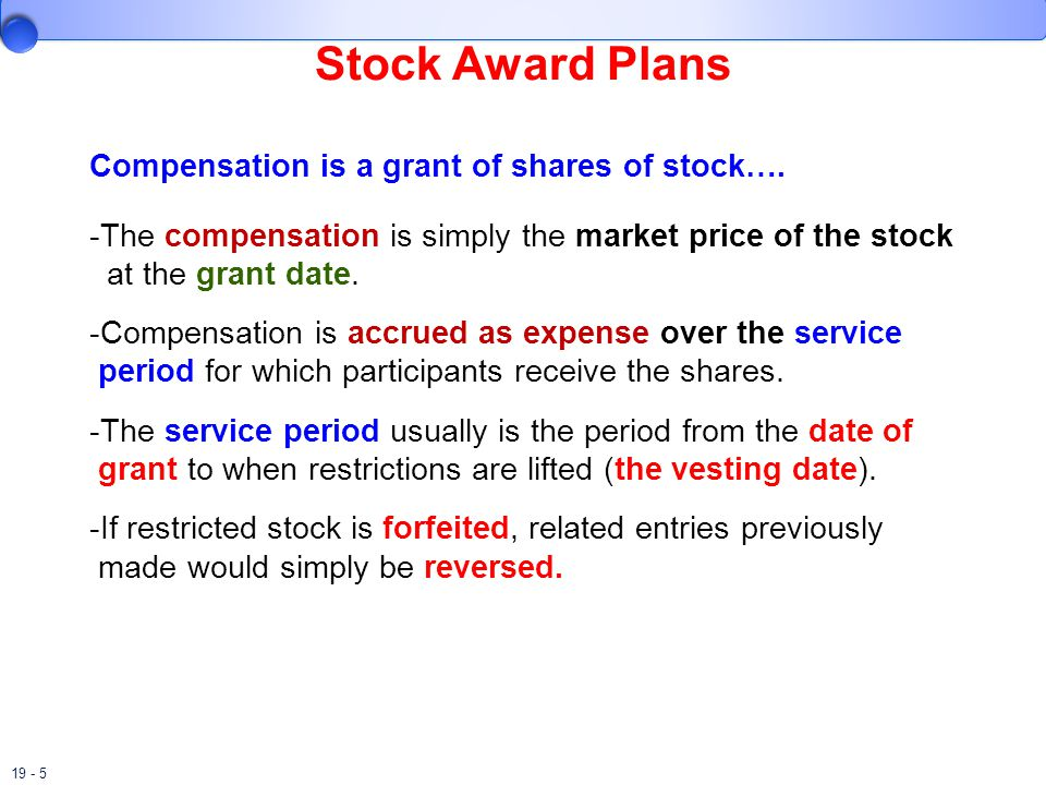 Stock Award Plans Compensation is a grant of shares of stock….