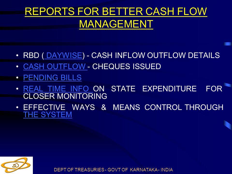 REPORTS FOR BETTER CASH FLOW MANAGEMENT