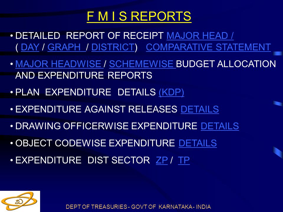 F M I S REPORTS DETAILED REPORT OF RECEIPT MAJOR HEAD / ( DAY / GRAPH / DISTRICT) COMPARATIVE STATEMENT.