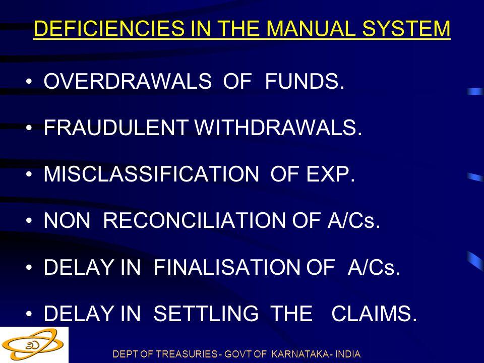 DEFICIENCIES IN THE MANUAL SYSTEM