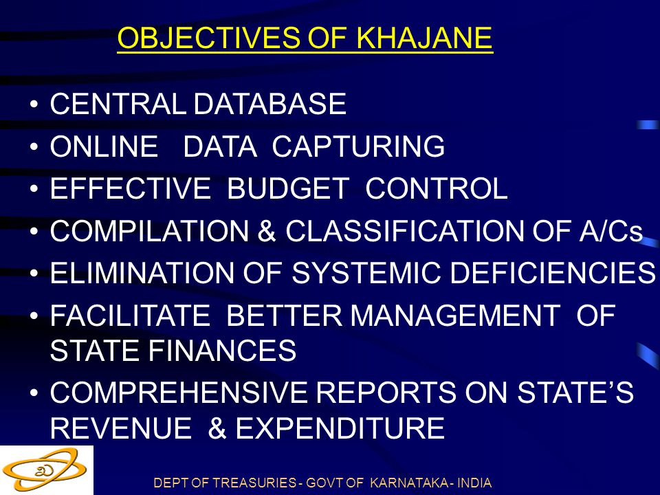 OBJECTIVES OF KHAJANE CENTRAL DATABASE. ONLINE DATA CAPTURING. EFFECTIVE BUDGET CONTROL. COMPILATION & CLASSIFICATION OF A/Cs.