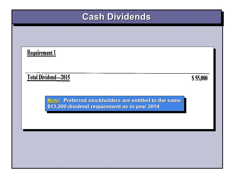 Cash Dividends Note: Preferred stockholders are entitled to the same $13,200 dividend requirement as in year 2014.