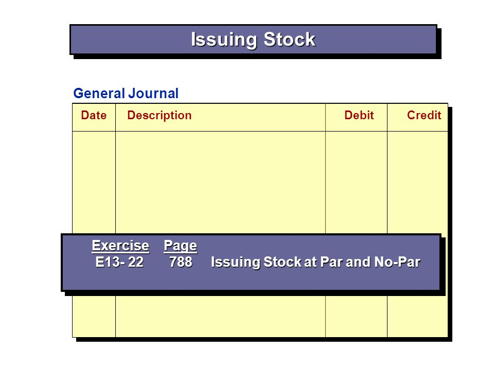 Issuing Stock General Journal Exercise Page