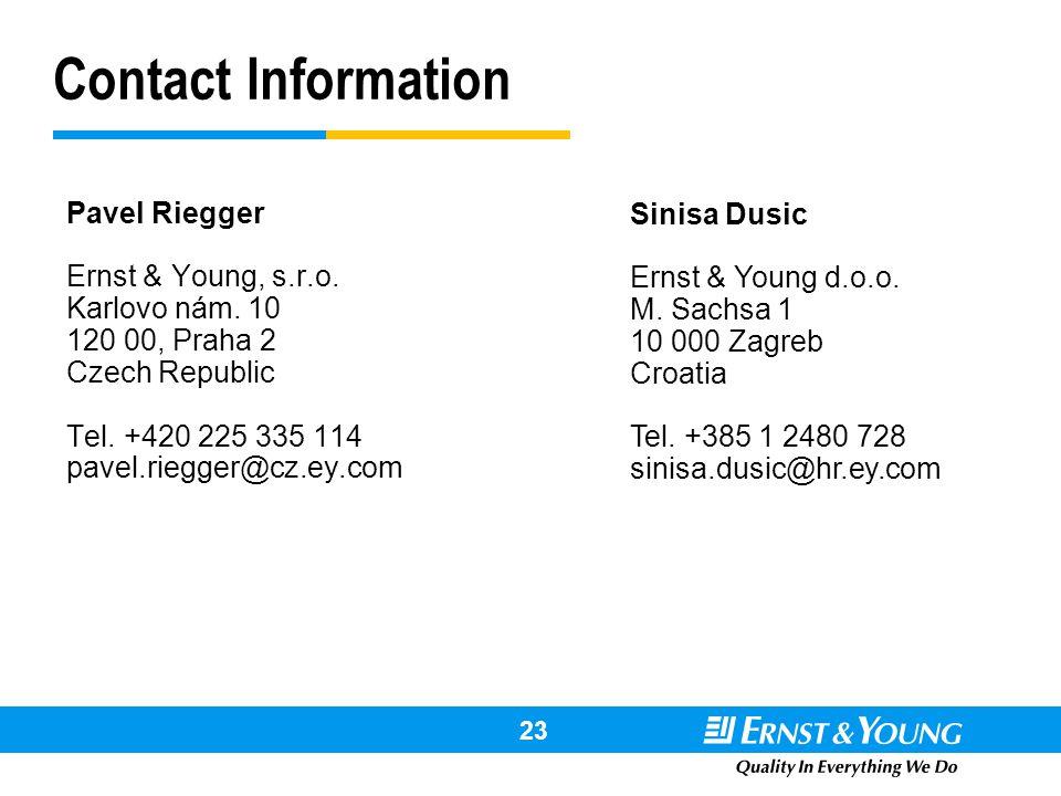 Contact Information Pavel Riegger. Ernst & Young, s.r.o. Karlovo nám. 10. 120 00, Praha 2. Czech Republic.