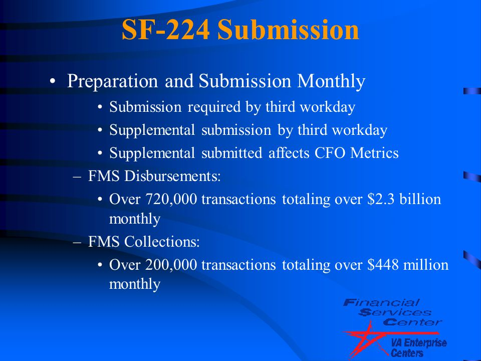 SF-224 Submission Preparation and Submission Monthly