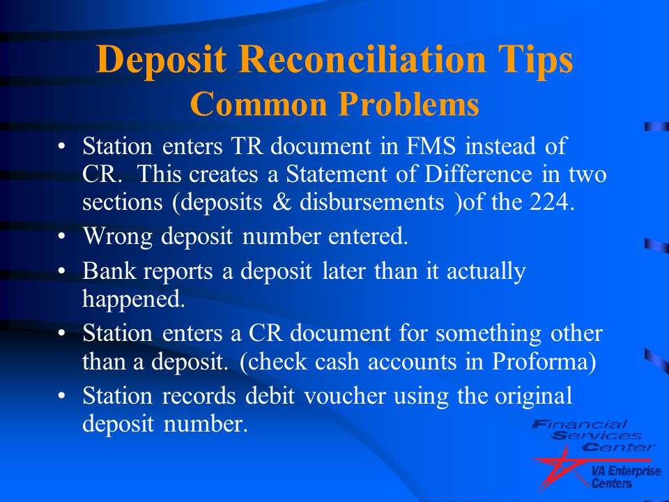 Deposit Reconciliation Tips Common Problems