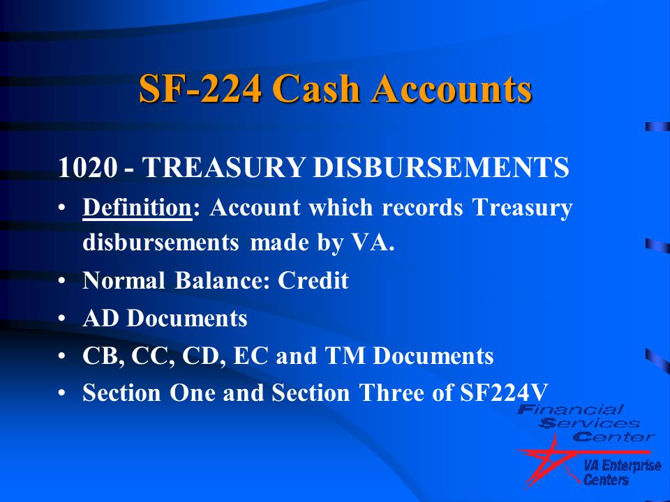 SF-224 Cash Accounts 1020 - TREASURY DISBURSEMENTS