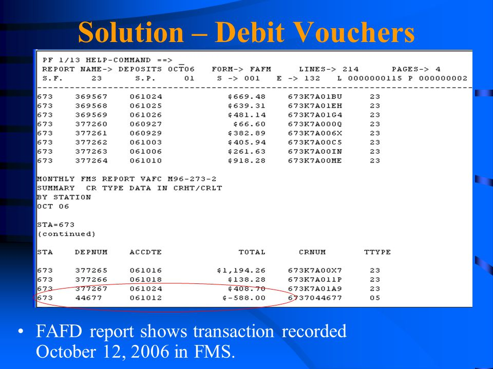 Solution – Debit Vouchers