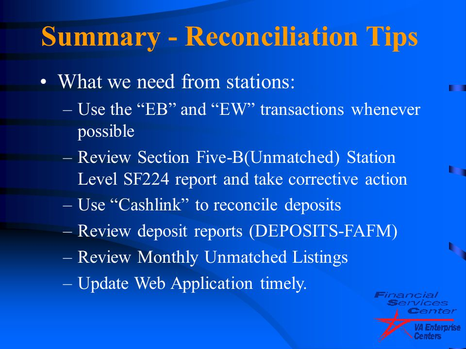 Summary - Reconciliation Tips