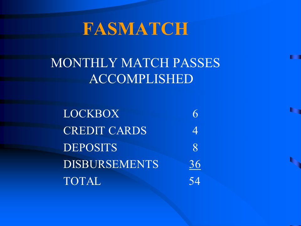MONTHLY MATCH PASSES ACCOMPLISHED
