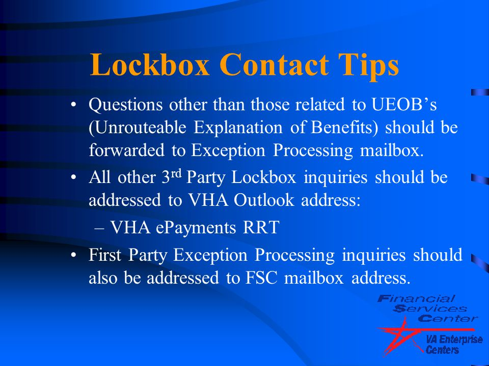 Lockbox Contact Tips