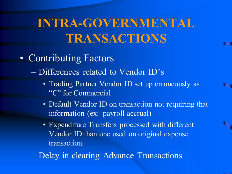 INTRA-GOVERNMENTAL TRANSACTIONS