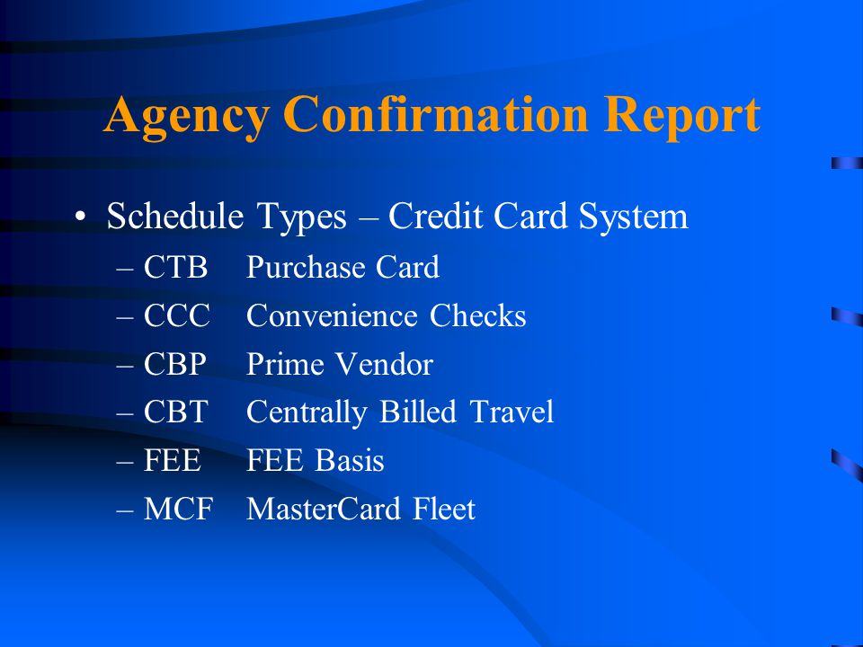 Agency Confirmation Report