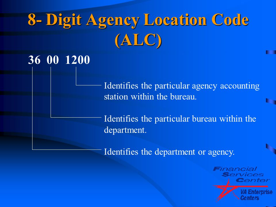 8- Digit Agency Location Code (ALC)