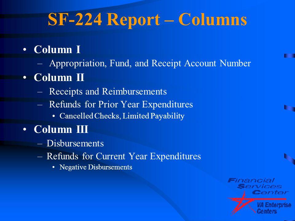 SF-224 Report – Columns Column I Column II Column III